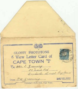 Cape Town letter card