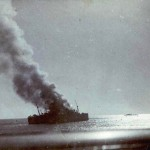SS Strahallan on fire
