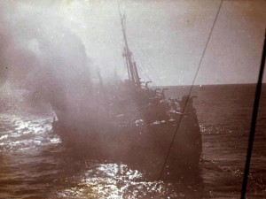 The SS Strathallan on fire